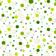 Confetti seamless greenery white glitter vector background. Green dots and triangles pattern on white.