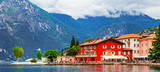 Alpine scenery - beautiful lake Lago di Garda and village Torbole. Italy