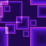 Purple dark seamless pattern with shining neon squares