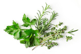 fresh green spices on white background - 138134851
