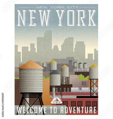Illustrated travel poster or sticker for New York. Water towers on roof tops of buildings with skyscrapers in the distance