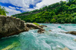Beautiful amazing gorgeous view of Niagara Falls river with torrent of water abruptly changes direction and creates one of the worlds most mesmerizing natural phenomena, the Niagara Whirlpool