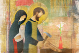 Holy family of Jesus, Mary and St Joseph the worker. Artistic abstract religious design. - 138144604
