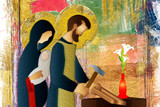 Holy family of Jesus, Mary and St Joseph the worker. Artistic abstract religious design. - 138144620