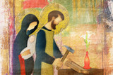 Holy family of Jesus, Mary and St Joseph the worker. Artistic abstract religious design. - 138144635