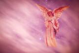Angel in heaven over purple background - 138149099