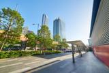 Street scene with modern building in downtown Kuala Lumpur, Malaysia .