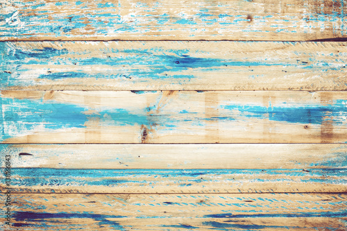 Old wooden background with blue paint. vintage wood texture from beach in summer. - 138166843