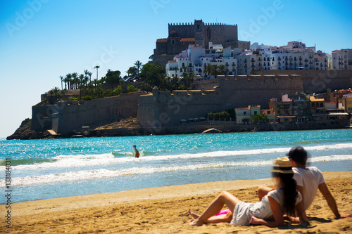 View of Peniscola castle from beach