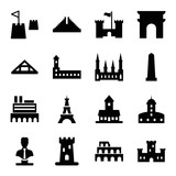 Set of 16 monument filled icons