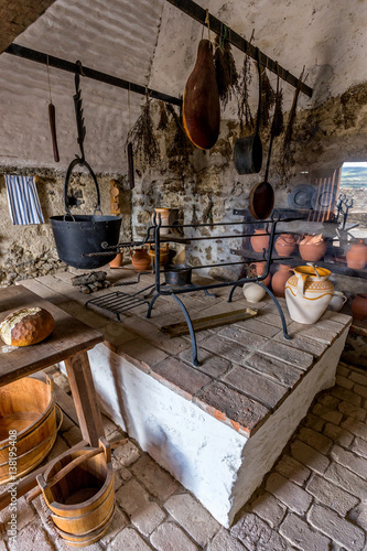 Old kitchen from the Szigliget castle in Hungary Poster