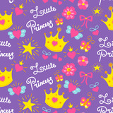 Little princess pattern vector. Cute girl background for template birthday card, baby shower invitation, girls wallpaper and fabric. Kids print with stars, flowers, crowns, bows and hearts.