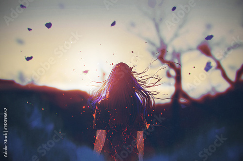 rear view of woman with cracked effect on her body looking the sunrise,illustration painting - 138198652