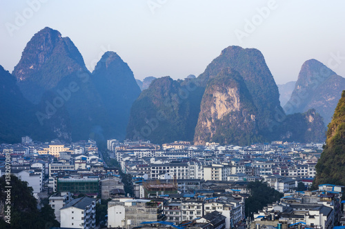 Aluminium Guilin Yangshuo cityscape skyline with Karst mountains in Guangxi Province, China