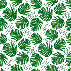 Geometric palm leaves.