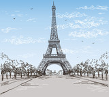 Landscape with Eiffel tower in black and wwhite colors on blue and grey background