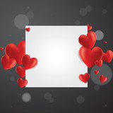 Realistic hearts vector background