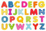 Fototapety Colorful wood alphabet letters on a white background