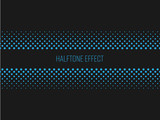 Halftone effect title strip with blue text on dark grey background. Vector illustration. - 138229051