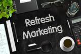 Refresh Marketing Concept on Black Chalkboard. 3D Rendering.