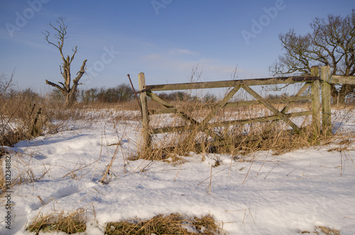 An old gate on a snowy field on a sunny day Poster