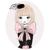 Beautiful romantic girl vector Illustration. Cute girl in a black hat, performer, singer, dancer, ballerina. Original illustration in vintage style.