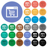 Webshop application round flat multi colored icons