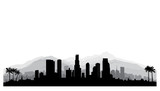 Fototapety Los Angeles, USA skyline. City silhouette with skyscraper buildings, mountains and palm trees. Famous american cityscape