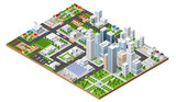 Fototapety Isometric urban megalopolis top view of the city infrastructure town, street modern, real structure, architecture 3d elements different buildings