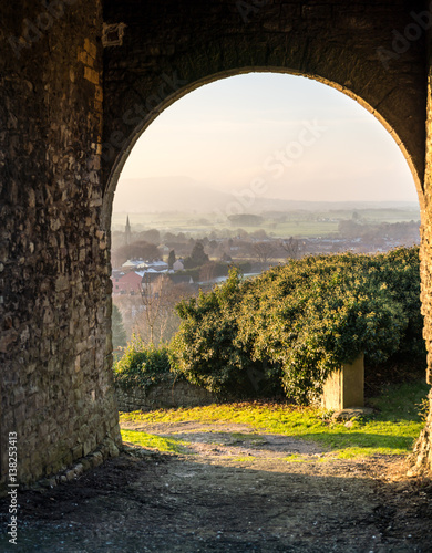 Poster Gateway at Clitheroe Castle looking down into the village.