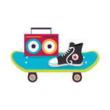 skateboard with young shoe icon vector illustration design