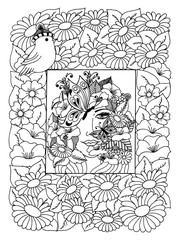 Vector illustration girl with a butterfly in her hair among the flowers. Work made by hand. Book Coloring anti-stress for adults and children. Black and white.
