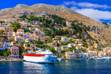 Travel in Greece - ferry boat in Symi island, Dodecanesse