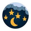 stars and moon hanging vector illustration design