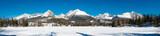 Panorama of frozen Strbske Pleso with High Tatras mountains, Slovakia