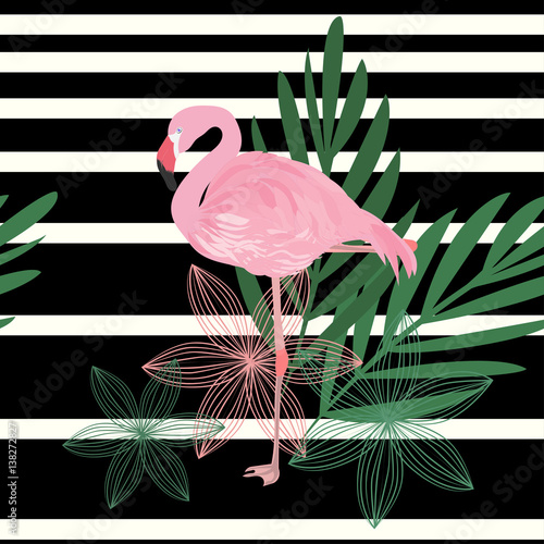 Flamingo on black and white striped background with leaves and flowers vector pattern. Tropical fashion design.