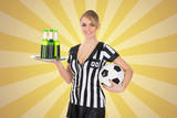 Waitress With Drinks And  Football Ball