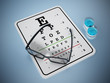 Eye test chart and eyeglasses. 3D illustration