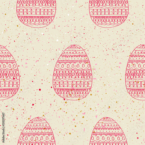 Cotton fabric Seamless vector pattern of red hand drawn eggs on grunge background. Concept for Easter.