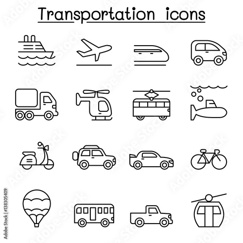 Papiers peints Cartoon draw Transport & Logistic icon set in thin line style