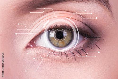 Juliste Security Iris or Retina Scanner being used on an Intense Macro Blue Human Eye, w