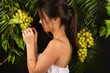 attractive teenager girl holding grapes