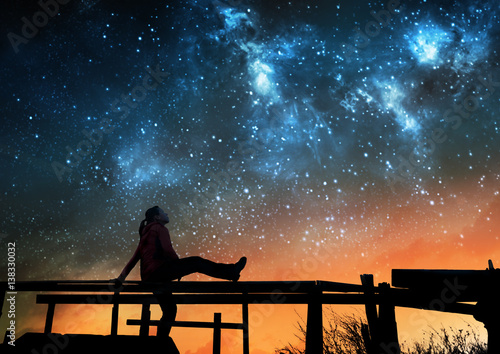 Poster Girl watching the stars