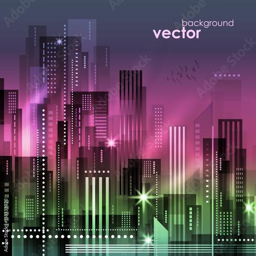 Night City, vector illustration