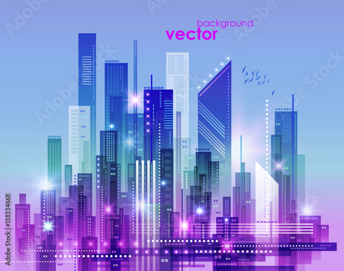 Fotobehang Purper Night city skyline, vector illustration