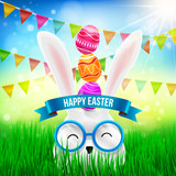 Happy Easter with White Bunny and Easter Eggs Over on Head in Grass.Bunny feel happy with Bunting Triangle Papers Flags,Sunlight and Blue Sky.Vector illustration eps 10