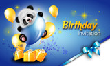 Birthday invitation card with panda