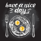English breakfast with fried eggs, bacon, sausage, beans, tomato and mushrooms on the plate, fork and knife. Vector hand drawn illustration with lettering