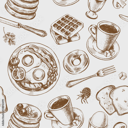 Seamless pattern with hand-drawn breakfast elements. Vector illustration. - 138342699