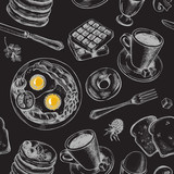 Seamless pattern with hand-drawn breakfast elements. Vector illustration. - 138342810